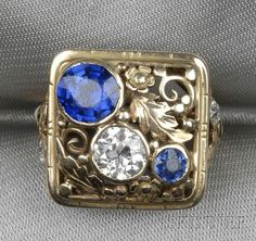 Arts & Crafts 14kt Gold, Sapphire, and Diamond Ring, Attributed to Edward Oakes