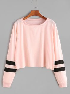 Dotfashion Varsity Striped Sleeve Crop Tee 2017 Autumn Pink Round Neck Long Sleeve Casual T-shirts Women's Cute T-shirts Crop Top Outfits, Komplette Outfits, Teen Fashion Outfits, Trendy Outfits, Fashion Fashion, Fashion Black, Ladies Fashion, Fashion Ideas, Summer Outfits