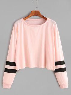 Camiseta corta de manga a raya universitaria - rosa