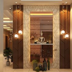 Beautiful Enterence of yr house. Living Room Partition Design, Pooja Room Door Design, Room Partition Designs, Wall Decor Design, Hallway Designs, Foyer Design, Home Room Design, Ceiling Design, Living Room Designs