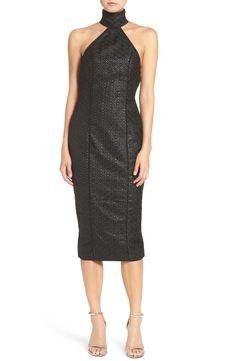 Misha Collection 'Wilhelmina' Mock Neck Midi Dress available at #Nordstrom