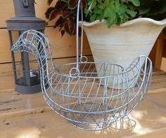 Farmhouse Decor Wire Duck Basket by ZeldasCottage on Etsy