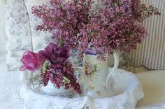 Hello everyone, It is a beautiful day here again and I enjoyed picking my first lilac bouquet of the season. I have been dreamin. Christmas Tea, Christmas Books, Country Christmas, Lilac Bouquet, Lilac Flowers, Lavender Cottage, Rose Cottage, Garden Picnic, House Of Turquoise