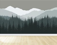 Mountain Wall Decal / Mountain Wall Mural / Woodland Wall Mural / Forest Wall Mural / Pine Tree Wall Decal / Peel and Stick Mural Nursery Wall Murals, Tree Wall Murals, Wall Decals, Behr Paint Colors, Wall Colors, Mountain Mural, Modern Playroom, Woodland