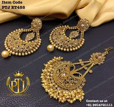"Punjabi Traditional ""Antique Gold Jhodha Earrings & Passa""(Next to Real) Item Code - PTJ For price please inbox with Image or… Pakistani Jewelry, Indian Wedding Jewelry, Bridal Jewelry, Tikka Jewelry, India Jewelry, Gold Jewellery, Fashion Jewelry, Women Jewelry, Indian Accessories"