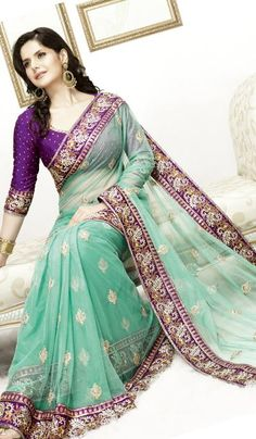 Price : 8432 INR;   Product Code	:	G3-LS1683;   Product Name	:	Sea Green Net Embroidered Partywear Saree Saree