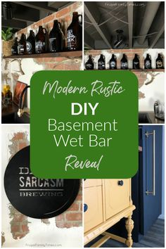 Our DIY basement wet bar is done! It's modern, rustic and with a little industrial. We've got so many basement bar ideas packed in here: including our DIY black SMEG fridge hack, our custom bar brewery sign, faux brick and plaster wall treatment, painted basement ceiling, converted buffet to wet bar, rustic wood floating shelf with antlers and more!