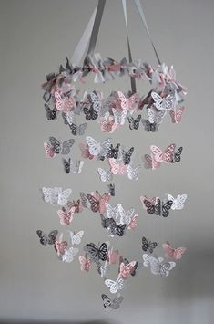 Butterfly Nursery Mobile - Pink Grey White Mobile. $49.00, via Etsy.