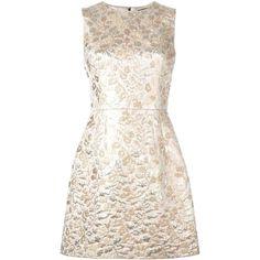 Dolce & Gabbana brocade dress (134.255 RUB) ❤ liked on Polyvore featuring dresses, metallic, metallic dress, pink cocktail dress, pink metallic dress, back zipper dress and sleeveless dress