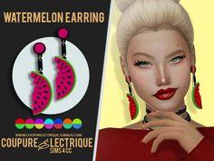 Coupure Électrique - SIMS 4 CC: WATERMELON EARRING
