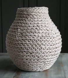 Vase by Dutch designer Hella Jongerius with a crocheted jacket.