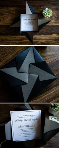 Unique Black Origami Wedding Invitation by Penn & Paperie. Modern Wedding Invitation Design for Black Tie Wedding.