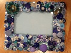 Shades of Blue 4x6 Button Embellished Picture by BelieveInButtons, $13.00