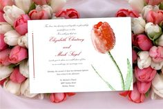 Printable Wedding invitation template red tulip flower by Oxee, $5.00