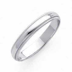 14K White Gold 3mm Plain Milgrain Wedding Band Ring for Men & Women (Size 4 to 12) - Size 12 by The World Jewelry Center, http://www.amazon.com/dp/B004YF0NMW/ref=cm_sw_r_pi_dp_FgGNpb08RB2WJ