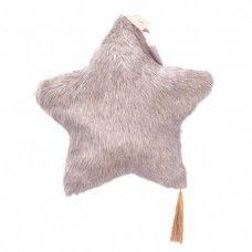 Beige fake fur Star cushion