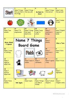 Board Game - Name 3 Things (Hard) worksheet - Free ESL printable worksheets made by teachers