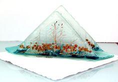 napkin holder fused glass  landscape series by virtulyglass, $35.00