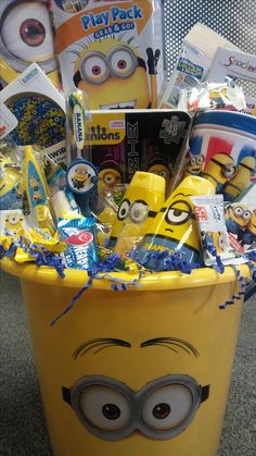 Minion and sophia the first easter baskets i made i make these minions gift basket includes 2 in 1 snack drink cup minions swirly pop negle Gallery