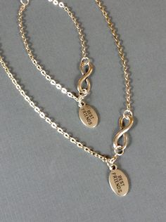 """My Doll and Me matching infinity symbol necklaces w dangling best friends charm for girls and/or their American Girl or other 18"""" dolls. by BFFandMEJewelry on Etsy"""