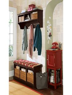 Mudroom organization, bench, shelves