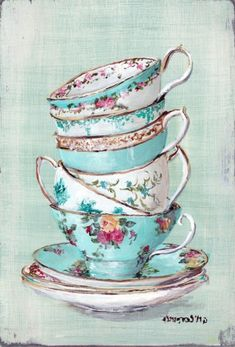 Ready to hang Print - Turquoise Themed Tea Cups - FREE POSTAGE Australia wide