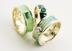 Rings | John Flegg & Irene Orr ~ Alchemia.  Emerald, tourmaline and green enamel.