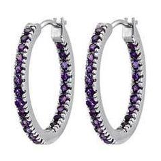 Zales Crystal Inside-Out Hoop Earrings in Sterling Silver Bsne7oTPED
