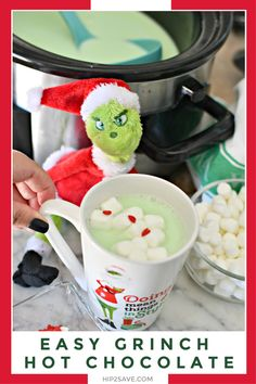 holiday treats Looking for a delicious holiday treat that the entire family will love? This Grinch inspired Crock-Pot Hot Chocolate Party Drink will be a hit with the kiddos and the adults too! Fire up your slow cooker and make this for your next party! Grinch Party, Grinch Christmas Party, Grinch Christmas Decorations, Christmas Snacks, Christmas Breakfast, Christmas Cooking, Christmas Time, Holiday Drinks, Holiday Desserts