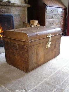 Old tin trunk metal chest storage box coffee table victorian railway trunk Metal chest coffee table