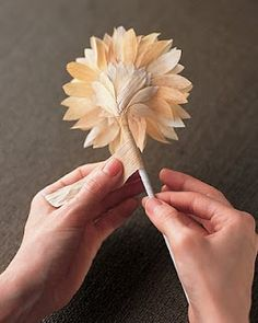 Not a fan of hot gluing corn husk, but the effect is lovely. Via MS