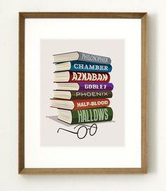Harry Potter Books Poster / Harry Potter art / Scar Illustration Sorcerers Stone Azkaban Chamber of Secrets Half-Blood // Buy 3 get 1 FREE on Etsy, $17.00