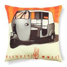 Fun Polyvelvet Cushion Cover with Auto-Rickshaw #India #design