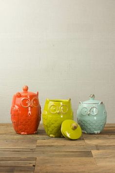 SET/3 BIG EYE OWL CANISTER- ONE EACH COLOR $59.00 Owl Home Decor, Starter Home, Architectural Features, Owl House, Big Eyes, Kitchen Stuff, Kitchen Accessories, Owls, Collections