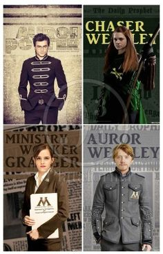All grown up and in the work force! Wished they had Hyphenated Ginny and Hermoine's names ... Granger-Weasley and Weasley-Potter.