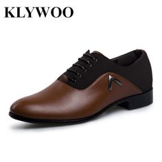 KLYWOO Brand New Simple Style Men Dress Shoes Leather Breathable Lace-Up Oxford Shoes For.… -
