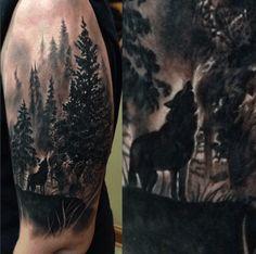 Amazing bicep tattoo by Maxwell Egy. #inked #inkedmag #tattoo #wolf #forrest…