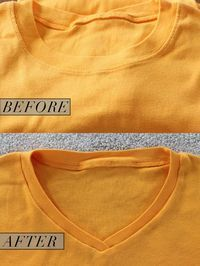 How to Turn a Crew Neck T-Shirt Into a V-Neck | I do my shirts this way... the only thing I do different, I do not cut the neck rib into 2 pieces, I cut the neck the same way and just ease the ribbing into the V and out again