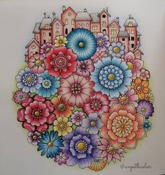 Coloring Book Art, Colouring Pages, Adult Coloring Pages, Joanna Basford, Johanna Basford Coloring Book, Coloring Tutorial, Mandala Drawing, Crayon, Tribal Art