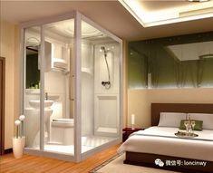 Ideas For Hotel Bath Room Small Layout Bathroom Glass Wall, Open Bathroom, Bathroom Layout, Plano Hotel, Bathroom Shower Enclosures, Cabin Bathrooms, Home Office Setup, Bathroom Design Luxury, Room Planning