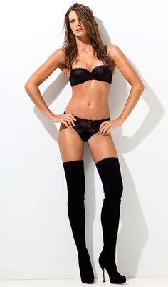 Elle Macpherson in black lingerie