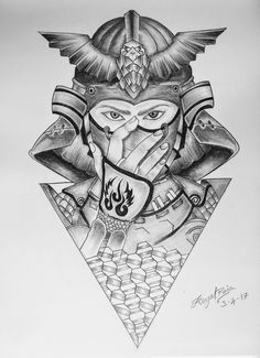 Samurai, mask, manga Japanese Dragon Tattoos, Japanese Tattoo Art, Japanese Sleeve Tattoos, Japanese Temple Tattoo, Small Chest Tattoos, Full Arm Tattoos, Body Art Tattoos, Neck Tattoo For Guys, Back Tattoo