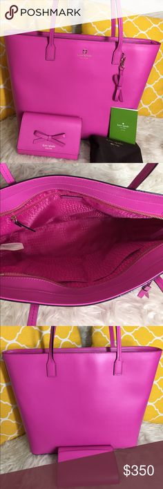 """🌸FLASH⬇️🌸Kate Spade Large Pink Tote w/ Wallet 🌷Authentic🌷Excellent shape. Minimal sign of use on leather. All parts intact and functional. Smooth leather with matching bow detail. Tote has 3 pockets inside and zips on top to close, carry it by hand/arm or shoulder. Great for weekend getaway/laptop bag/school/work or mommy bag.Wallet snaps to close and has slot for everything you need. Don't be shy to make an offer💕 Dimensions: Tote L16"""" H11.5"""" Bottom Width4.5"""" Handle Drop9"""" Wallet…"""
