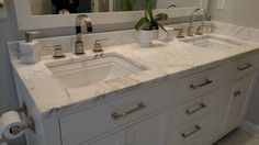 Beautiful quartz double vanity #quartz #bathroomvanity #whitecabinets