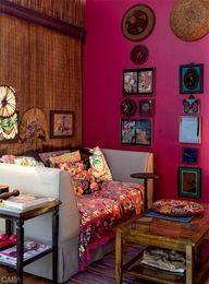 Boho Chic interior Colorful Tropical Home Interior- Casa Brazil (small, quaint space) Boho Chic Interior, Modern Bohemian Decor, Bohemian Room, Bohemian Decorating, Bohemian Bedrooms, Bohemian Style, Bohemian Living, Sweet Home, Turbulence Deco