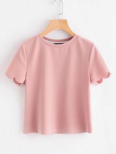 Camiseta con manga de borde concha Blusa Vestido 86baffad08a