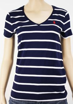 Ralph Lauren Women Featured Notch Short Sleeved Big Polo Blue