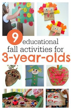 Great fall activities for 3-year-olds that aren't just cute, they are educational too. Activities For 3 Year Olds, Diy Crafts For 3 Year Olds, Fall Activities For Preschoolers, Preschool Fall Crafts, 3 Year Old Preschool, Fun Fall Activities, Crafts For Kids, Educational Crafts, Educational Activities For Kids
