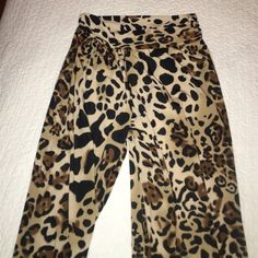 Leopard Bohemian Style Pants 95% Polyester 5% Spandex Pants