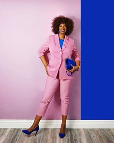 Pink and blue outfit ensemble | For more style inspiration visit 40plusstyle.com